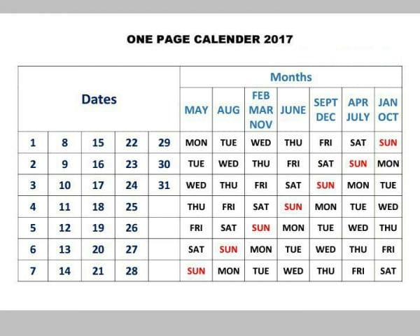 2017 One Page Calendar