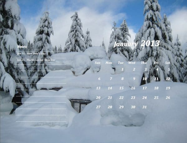 January 2013 Calendar Template