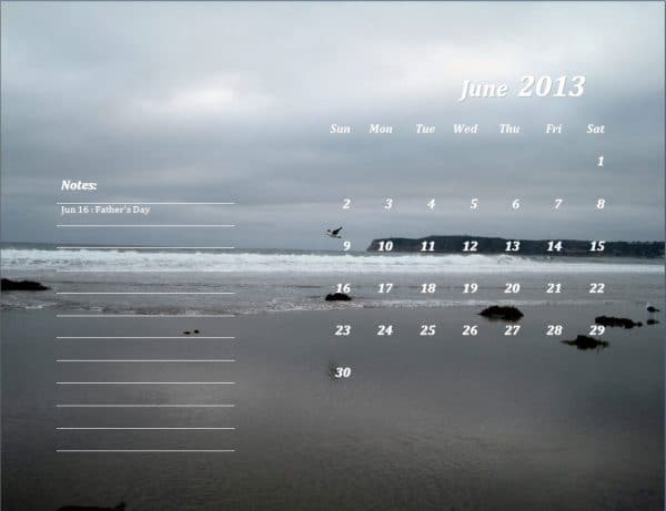 June 2013 Calendar Template