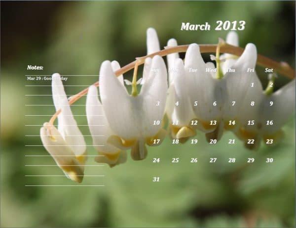 March 2013 Calendar Template