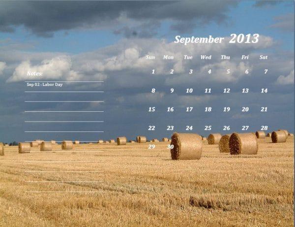 September 2013 Calendar Template